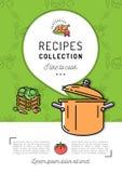 Dimensione del libro di cucina A4 del menu della copertina di libro di ricetta Vaso d'ebollizione, icona del vapore, fumetto con  Immagini Stock