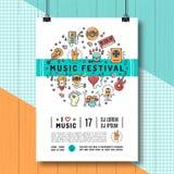 Dimensione del modello A4 del manifesto di festival di musica, linea icone di arte Immagine Stock