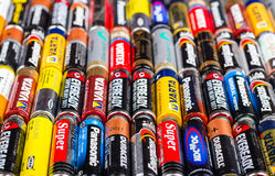 Dimensione delle batterie aa Fotografia Stock Libera da Diritti