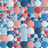 Dimensione di rosso blu di vettore del cerchio di griglia geometrica bianca senza cuciture del quadrato e modello casuali della p Fotografia Stock Libera da Diritti