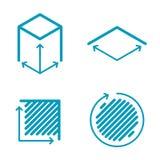 Dimensione ed insieme di misurazione dell'icona Dimensione, quadrato, sym di concetto di area illustrazione vettoriale