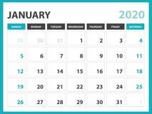 Dimensione 8 x a 6 pollici, gennaio 2020 modello del calendario, progettazione del pianificatore, inizio del layout calendario di illustrazione vettoriale