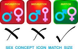 Dimensione sessuale della partita dell'icona di concetto  illustrazione di stock