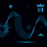 Dimensionellt flödande strimmigt band, drömlik futuristisk bakgrund vektor illustrationer