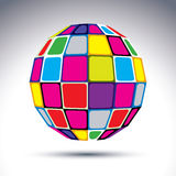 Dimensionellt modernt abstrakt objekt för vektor, mångfärgat disko 3d stock illustrationer