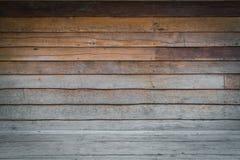 Dimensionellt rum med ett trä Paneled vägg- och trägolv royaltyfri fotografi