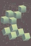dimensionellt ytterkant retro avstånd för 3 kuber stock illustrationer