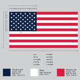 Dimensiones de la bandera americana stock de ilustración