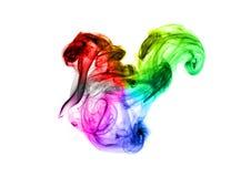 Dimensiones de una variable coloridas brillantes del extracto del humo sobre blanco Imagen de archivo libre de regalías
