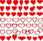 Dimensiones de una variable de corazones Fotografía de archivo