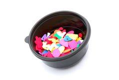 Dimensiones de una variable de la espuma en tazón de fuente Fotos de archivo libres de regalías
