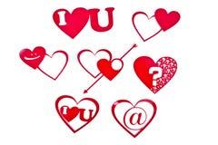 Dimensiones de una variable del corazón en rojo Imagen de archivo libre de regalías