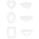 Dimensiones de una variable del diamante: Corazón - marqués - esmeralda Foto de archivo