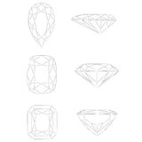 Dimensiones de una variable del diamante: Pera - amortiguador - radiante Imágenes de archivo libres de regalías