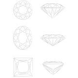 Dimensiones de una variable del diamante: - Óvalo - princesa brillante redonda Fotografía de archivo libre de regalías