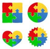 Dimensiones de una variable del rompecabezas con las flechas Imagenes de archivo