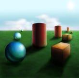 Dimensiones de una variable en la hierba Imágenes de archivo libres de regalías