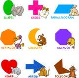Dimensiones de una variable geométricas básicas con los animales de la historieta stock de ilustración