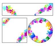 Dimensiones de una variable geométricas con rompecabezas coloridos Foto de archivo libre de regalías