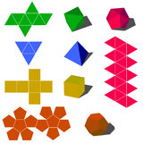 Dimensiones de una variable geométricas del vector de Colorfull 3d Imágenes de archivo libres de regalías