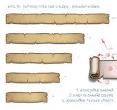 Dimensioni dell'etichetta cinque di apice del papiro - bordi diritti Fotografia Stock Libera da Diritti