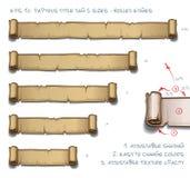 Dimensioni dell'etichetta cinque di apice del papiro - bordi rotolati Fotografia Stock Libera da Diritti