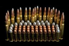Dimensioni differenti dei richiami delle munizioni della pistola Fotografia Stock