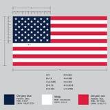 Dimensions de drapeau américain illustration stock