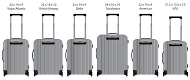 Dimensions of hand luggage taken by the airlines Stock Photography