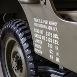 Dimensions and weights printed on the side of a military off roa Stock Photos