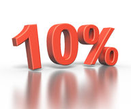 Dimentional drie het teruggeven van tien percentensymbool Royalty-vrije Stock Fotografie