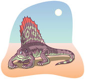 Dimetrodon Dinosaur vector illustration. A Dimetrodon Dinosaur under a desert sun rendered in a cartoon style. All colors are in-gamut RGB. Background is on a vector illustration