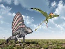 Dimetrodon nimmt Peteinosaurus in Angriff lizenzfreie abbildung