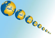Diminishing Globes Stock Images