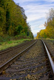 Diminishing perspective. Railway line with diminishing perspective curving away into the distance royalty free stock photos