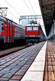 Diminishing perspective view of railway station with stone platform. In Moscow royalty free stock photos