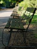 Diminishing perspective view of wooden benches at dusk. Peaceful and beautiful evening at a park. Selective focus, blurred background royalty free stock images