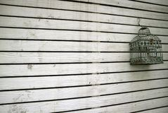 Diminishing perspective of white colored old wooden plank wall with an empty bird cage. Texture background royalty free stock image