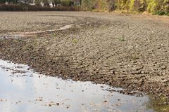 Diminishing water and drought in the pond. Droughts as a result of global warming stock image