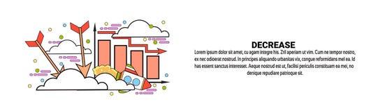 Diminuez la bannière horizontale de Web d'automne de concept financier d'affaires avec l'espace de copie Photo stock
