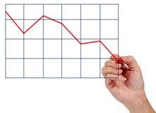 Diminuição do desenho da mão no negócio Fotografia de Stock