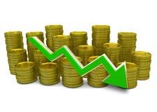 Diminuir custa - gráfico da finança 3D - a moeda e a seta verde Foto de Stock Royalty Free