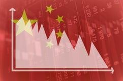 Diminuzione di mercati finanziari della Cina Fotografia Stock