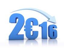 Diminuzione 2016 e euro con la freccia Immagine Stock Libera da Diritti
