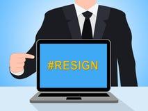 Dimita el ordenador Hashtag significa abandonado o dimisión del gobierno o del presidente del trabajo ilustración del vector