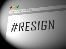 Dimita el ordenador Hashtag significa abandonado o dimisión del gobierno o del presidente del trabajo stock de ilustración