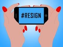 Dimita el teléfono Hashtag significa abandonado o dimisión del gobierno o del presidente del trabajo ilustración del vector