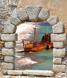Dimitrios shipwreck at Selinitsa beach near Gytheio Royalty Free Stock Images