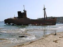 Dimitrios shipwreck at Selinitsa beach near Gytheio, Greece stock image