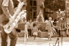 Children dancing to jazz music royalty free stock photos